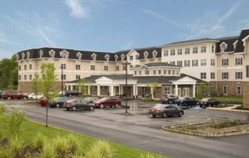 Exterior of Homestead at Hamilton, a new senior living community in Mercer County NJ